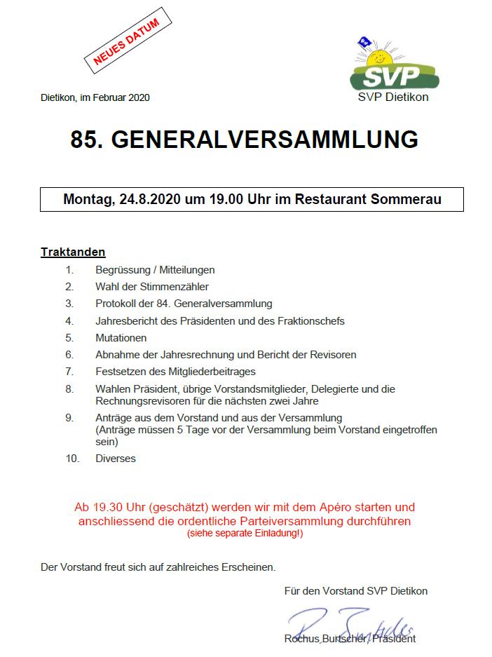 Einladung zur Generalversammlung 24.8.2020
