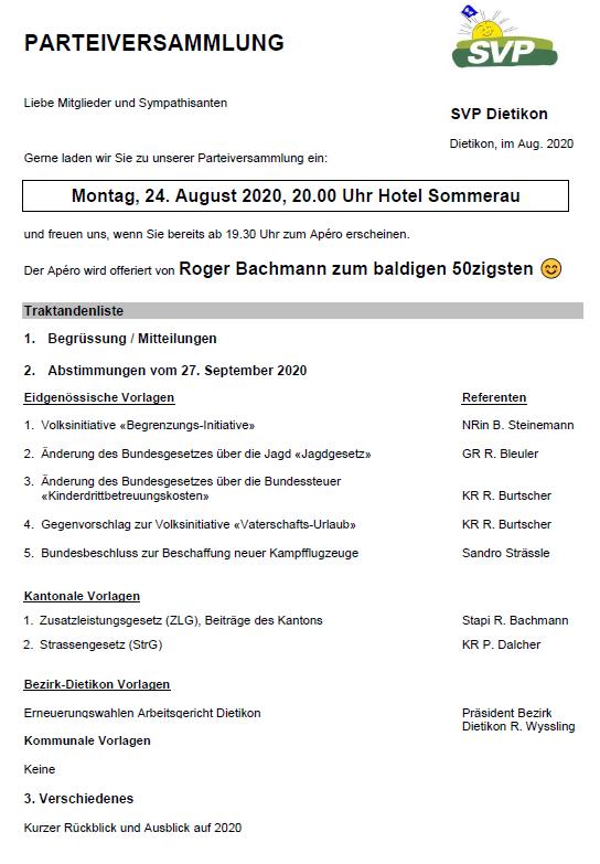 Einladung zur Parteiversammlung vom 24. August 2020 im Hotel Restaurant Sommerau