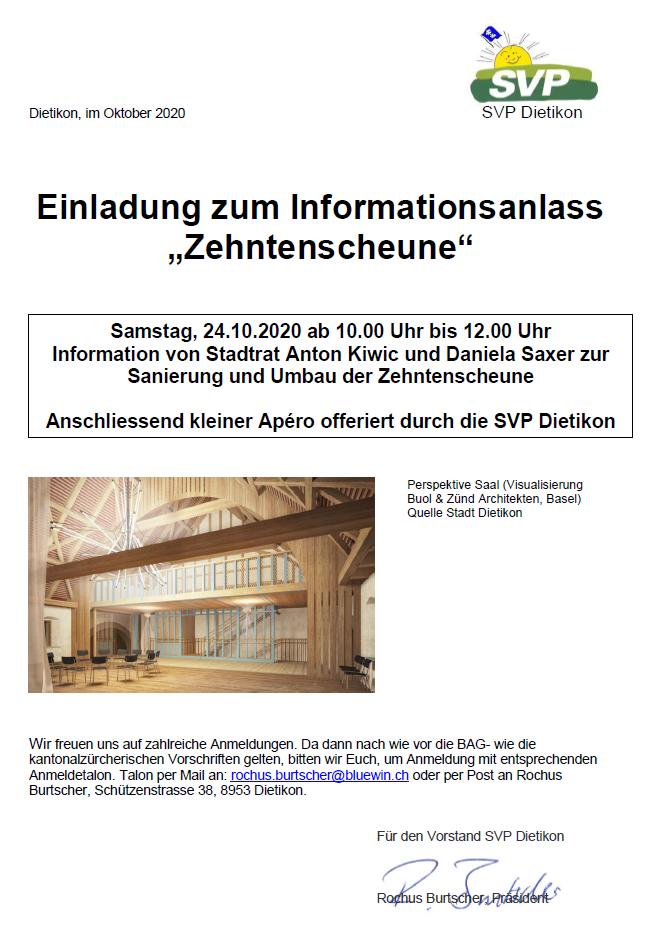 "Einladung zum Informationsanlass ""Zehntenscheune"""